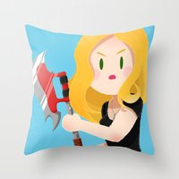buffy Throw Pillows featuring Little Warriors: Buffy by Inu Store