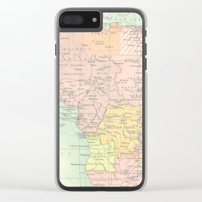 Vintage Africa Map Clear iPhone Case