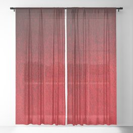 Ruby Red Ombré Design Sheer Curtain