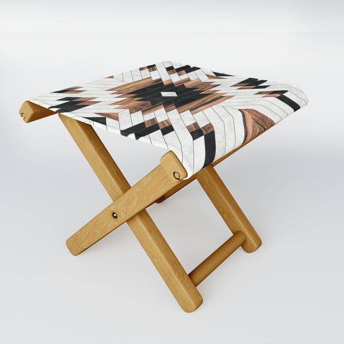 Urban Tribal Pattern No.5 - Aztec - Concrete and Wood Folding Stool