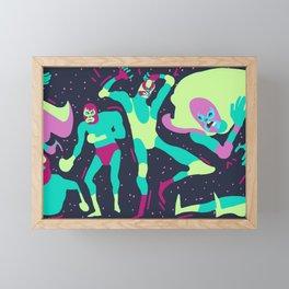Luchadores Scramble BlueLime Framed Mini Art Print