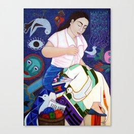 Violeta Parra embroidering life Canvas Print