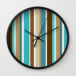 Vertical Stripe Pattern // Caribbean Blue, Ocean Blue, Dark Brown, Caramel Brown, Khaki, White Wall Clock