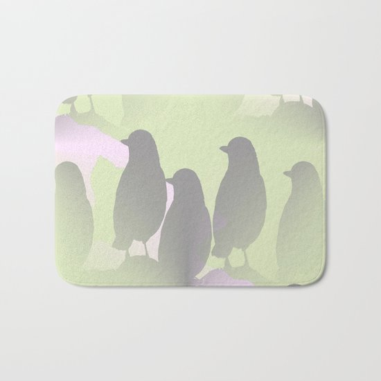 Spring mood - singing birds on a green pink background Bath Mat