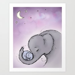 Goodnight Elephants Art Print