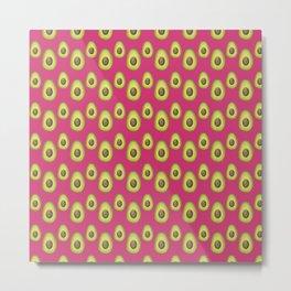 Dark Pink Avocado Pattern Metal Print