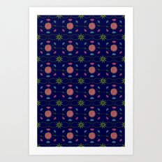 Fan Flowers Tiled Art Print