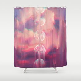 Moontime Glitches Shower Curtain