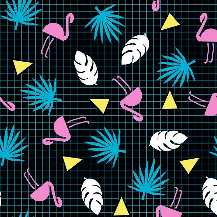 Sketchy - memphis wacka design throwback neon 1980s 80s style retro pattern grid flamingo tropical Leggings