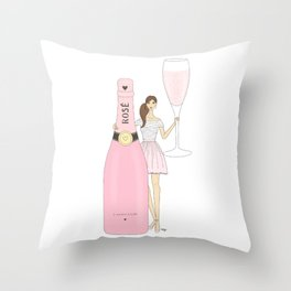 Rose Champagne Fashion Girl Brown Hair Throw Pillow