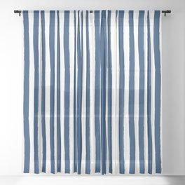 Navy Blue and White Cabana Stripes Palm Beach Preppy Sheer Curtain