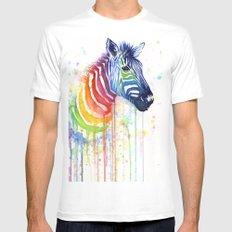 Zebra Rainbow Watercolor Whimsical Animal MEDIUM Mens Fitted Tee White