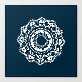 Warrior white mandala on blue Canvas Print