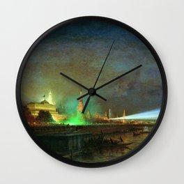 'Illumination Of The Kremlin' Landscape Painting by Aleksei Petrovich Bogolyubov Wall Clock