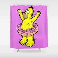 simpson Shower Curtains featuring Homer Simpson Celebrates National Donut Day...  EVERYDAY!  The Simpsons by beetoons