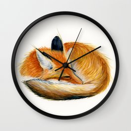 Sleeping Fox Watercolor Painting Wall Clock