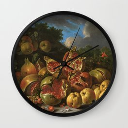Melendez  Luis Egidio - Pomegranates  Apples  Haws And Grapes In A Landscape. Wall Clock