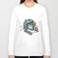 computer Long Sleeve T-shirts featuring 8bit computer by Sergey Kostik