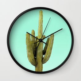 Cactus on Cyan Wall Wall Clock