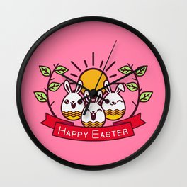 Happy Easter Happy Bunnies Wall Clock