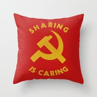 marx Throw Pillows featuring Sharing Is Caring by Landon Sheely