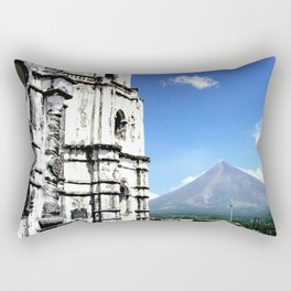 Mayon Volcano & the Old Church Rectangular Pillow