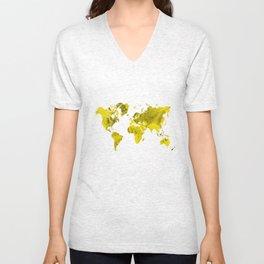 Yellow and black world map Unisex V-Neck