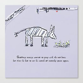 Geoffrey the Zebra-Donkey Cross Tucking into his Lunchtime Snack Canvas Print