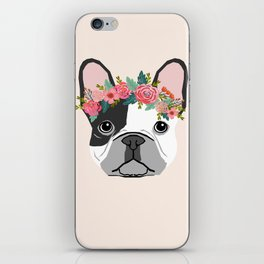 French Bulldog dog breed floral crown frenchies lover pure breed gifts iPhone Skin