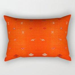 (N6) Vintage Orange Anthropologie Moroccan Artwork. Rectangular Pillow