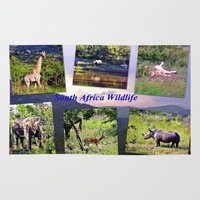 south africa Area & Throw Rugs featuring South Africa Wildlife by Art-Motiva