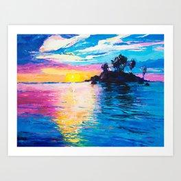 Sunset Landscape on Tropical Island Art Print