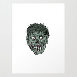 Zombie Skull Head Drawing Art Print