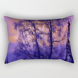 Hoarfrost Tree Sunset Rectangular Pillow