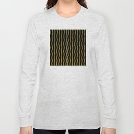 Art Deco Glitter-Gold Wavy Lines on Black Pattern Long Sleeve T-shirt