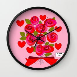 I Love You Rose Bouquet with Hearts Wall Clock