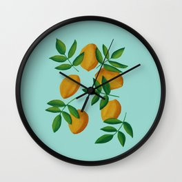 Lemons and Leaves Wall Clock