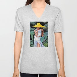 """""""Woman in Coral"""" Unisex V-Neck"""