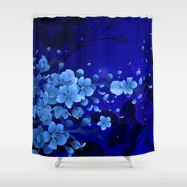 Cherry blossom, blue colors Shower Curtain