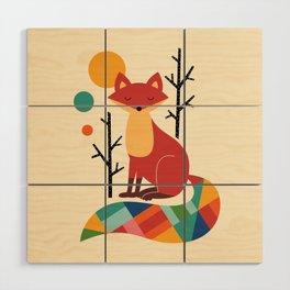 Rainbow Fox Wood Wall Art