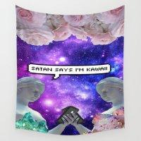 satan Wall Tapestries featuring SATAN SAYZ by Saturos