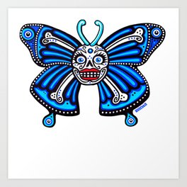 Blue Skull and Crossbones Butterfly Art Print