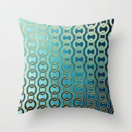 Ocean Blue Watercolor Gold Chain Links Throw Pillow