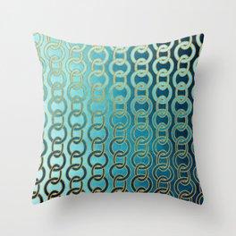 Ocean Blue Watercolor Gold Chain Links Throw Pillow