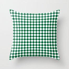 White and Cadmium Green Diamonds Throw Pillow