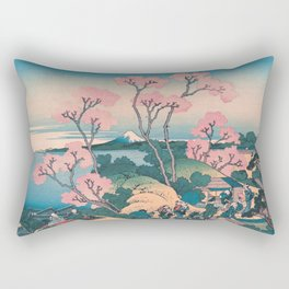 Spring Picnic under Cherry Tree Flowers, with Mount Fuji background Rectangular Pillow