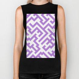 White and Lavender Violet Diagonal Labyrinth Biker Tank