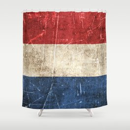 Vintage Aged and Scratched Dutch Flag Shower Curtain