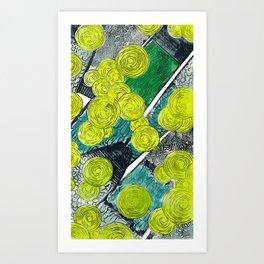 FLOATING MARKET| WOOD-CUT | YELLOW |PRINT DOWNLOAD Art Print