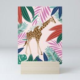 Giraffe and leopard in the jungle Mini Art Print